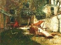 巴斯天家的庭院 by alfred théodore joseph bastien