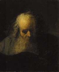 an old man reading a book by jacques des rousseaux