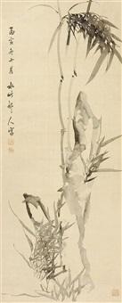 竹石图 立轴 绢本 by xu shichang