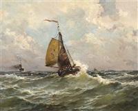a pink from scheveningen at sea by jan van der linde