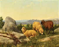 sheep on a rocky hillside by william baptiste baird