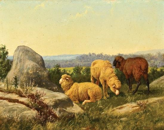 sheep on a rocky hillside by william baptiste baird