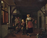 an interior with a maid holding a jug and three men beside a fire by ludolf de jongh
