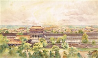 the forbidden city, peking (beijing) (from coal hill) by henry george gandy