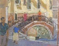 morning shoppers, venice (+ venice; 2 works) by mary jackson