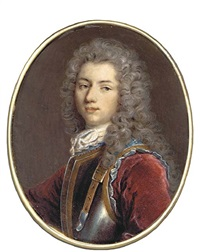 a young gentleman called fouché de sacy, in gold-bordered breast plate with blue lining and strap, red velvet coat, lace cravat, long powdered curling hair by jacques-antoine arlaud