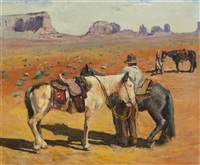 prospector with three mules by zivko zic