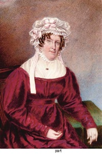 a lady seated in crimson dress and elaborate white bonnet (+ 2 others; 3 works) by william hudson