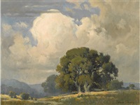 oaks beneath billowing clouds by percy gray