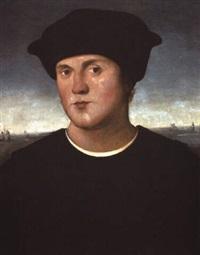 portrait of a man in a black costume by amico aspertini