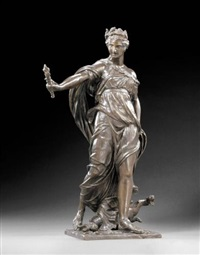 cérès éplorée (ceres in search of proserpine): the goddess stepping forward on her left foot with right arm outstretched ... by michel anguier