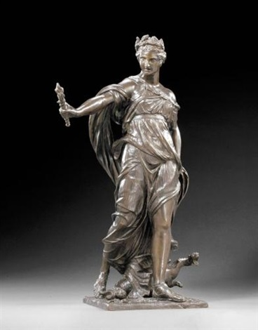 cérès éplorée ceres in search of proserpine the goddess stepping forward on her left foot with right arm outstretched  by michel anguier