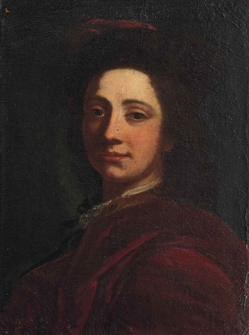 portrait of a gentleman bust length in a red cloak and hat by cesare dandini