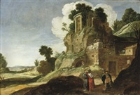 a rocky landscape with the three angels appearing to abraham by jacob symonsz pynas