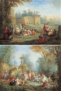 réunions galantes dans les jardins d'un palais by alexandre paul joseph veron