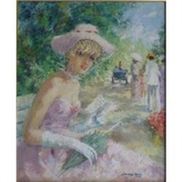 an elegant young lady in the park by marguerite aers