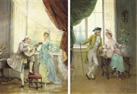 elegant flirtation (+ another, similar; pair) by e. etienne