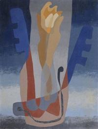 abstrakte komposition in blau und ocker by thilo maatsch