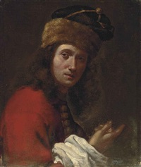 portrait of a man, bust-length, in a red, fur-trimmed coat and black fur hat by lorenzo lippi