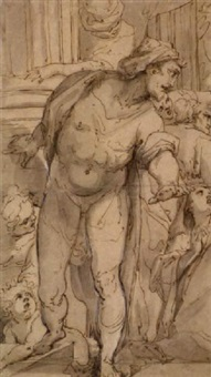 study of a surprised man surrounded by figures (the raising of lazarus?) by giulio benso