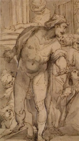 study of a surprised man surrounded by figures the raising of lazarus by giulio benso