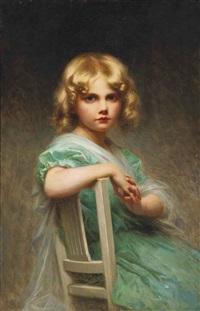 jeune fille à la robe verte by edouard cabane