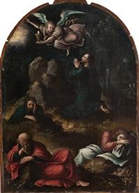 christus auf dem ölberg mit den schlafenden jüngern im garten gethsemane by bernaert (barend) van orley