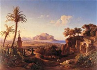 figures before a shrine with a view of palermo beyond by johann georg gmelin