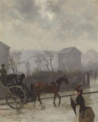 hansom cab in london by edmund charles tarbell