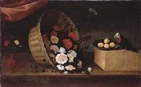 bodegón con jarrón, un cesto de flores, un plato con fruta y un loro by pedro de camprobin