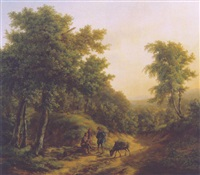 travellers resting on a sandy track in a mountainous landscape by pieter barbiers the younger