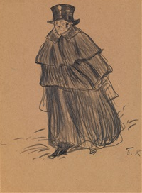 man in a cloak by boris mikhailovich kustodiev