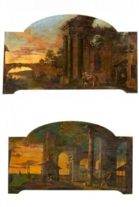 zwei supraporten. gegenstücke. capriccio mit römischen motiven (pair) by viviano codazzi