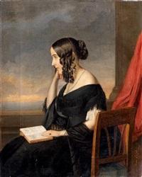 jeune femme à la lecture by josef mansfeld