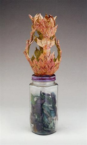 untitled jar of glass arrowheads by eugene von bruenchenhein