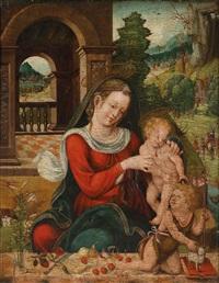 madonna mit kind und dem johannesknaben vor landschaftshintergrund by joos van cleve