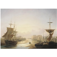 a harbour at sunset by louis-honore-frederic gamain