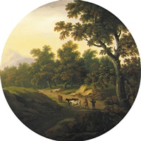 a wooded landscape with cattle grazing by william tomkins