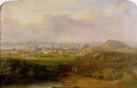 a prospect of edinburgh looking north towards arthur seat carlton hill and the firth of forth beyond by henry g duguid