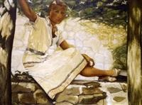jeune fille assise sur un muret en été by fernand foullioux