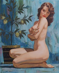 kneeling nude woman next to lemon tree in planter by charles allen