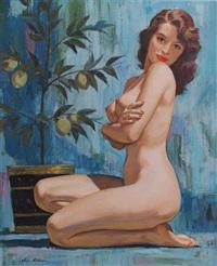 kneeling nude woman next to lemon tree in planter by charles allen