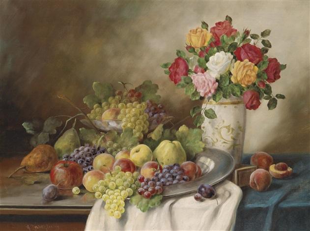 früchtestillleben mit rosen by alois zabehlicky