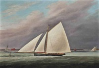 the racing cutter little vixen approaching the finishing mark of the royal thames yacht club to win the 35 class prize, 29th july 1841 by j. rogers