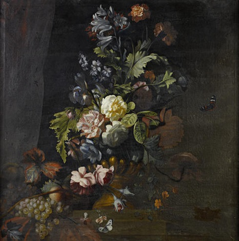 roses lilies irises and other flowers in an urn on a table ledge with roses convolvulus chrysanthemum and other flowers in an urn pair by simon pietersz verelst