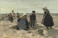 strand scheveningen; the beach of scheveningen by johannes evert hendrik akkeringa