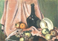 still life with bottle, fruit and shell by duncan grant