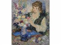 jeune fille au bouquet by pierre eugène duteurtre