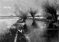 gänseschar an kanal mit kopfweiden by paul carl jünemann