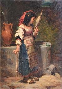 jeune fileuse napolitaine by pierre louis de coninck